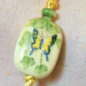 Ceramic Hand Painted Butterfly Pendant Necklace